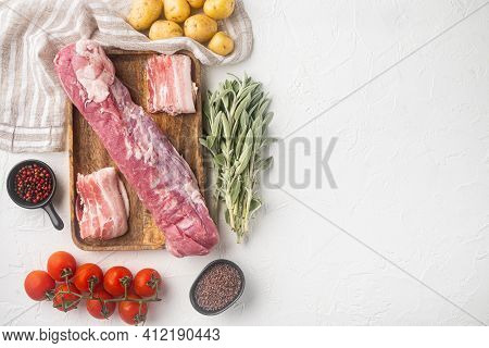 Raw Pork And Mash Gratin Ingredients Set, On Wooden Tray, On White Stone  Background, Top View Flat