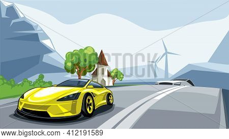 Sport Car Rushes Along The Road With A Beautiful European Landscape In Alps.
