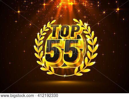Top 55 Best Podium Award Sign, Golden Object. Vector