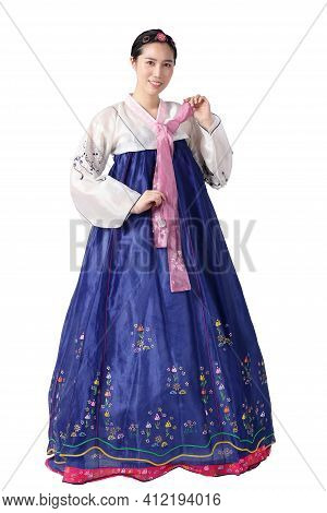 A Beautiful Asian Woman Wearing Hanbok Is The National Dress Of Korea. White Background. Isolated. C
