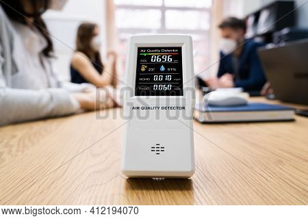 Pollution And Environment Smog Detector At Office Desk