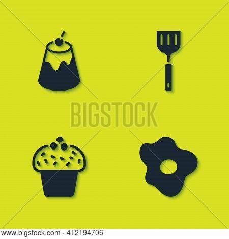 Set Pudding Custard, Scrambled Eggs, Cake And Spatula Icon. Vector