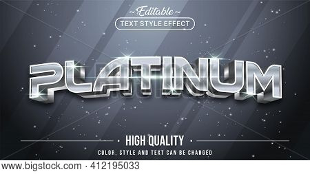 Editable Text Style Effect - Silver Platinum Text Style Theme. Graphic Design Element.