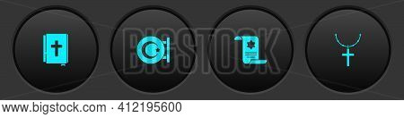 Set Holy Bible Book, Star And Crescent, Torah Scroll And Christian Cross On Chain Icon. Vector