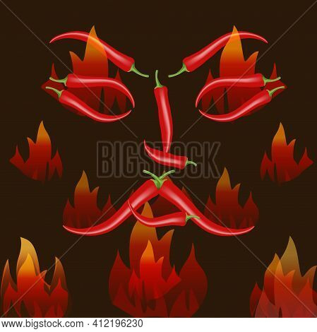 Angry Human Face Made Of Red Chili Pepper, Other Peppers Arranged Around On Dark Background. Spicy V