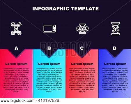 Set Line Hourglass Setting, Microwave Oven, And Old Hourglass With Sand. Business Infographic Templa