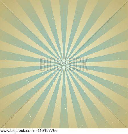 Sunlight Retro Faded Grunge Background. Green And Beige Color Burst Background. Vector Illustration.