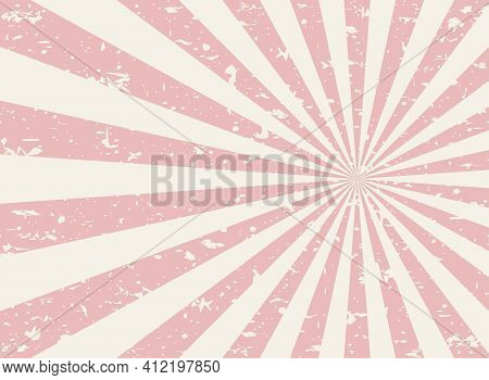 Sunlight Retro Faded Grunge Background. Pink And Beige Color Burst Background. Vector Illustration.