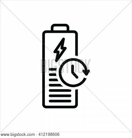 Black Line Icon For Longest Battery Charge Backup Capacity Recharge Electric