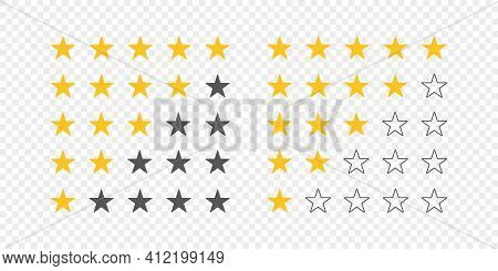 Rating Icons. Rating Stars. Five Stars Customer Product Rating. Vector Illustration