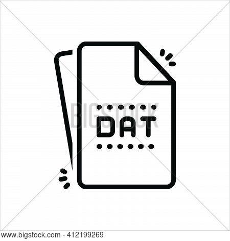 Black Line Icon For Dat Dat-file Document Format Folder Extension File