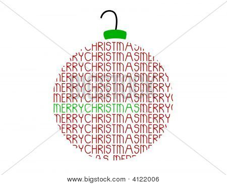 Merry Christmas Word Ornament Vector Ball