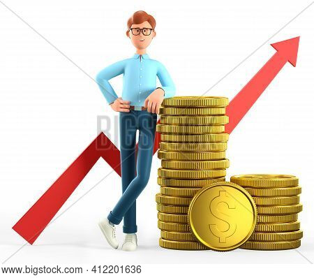 3d Illustration Of Smiling Man Leaning On A Huge Stack Of Gold Coins And Rising Arrow Chart. Cartoon