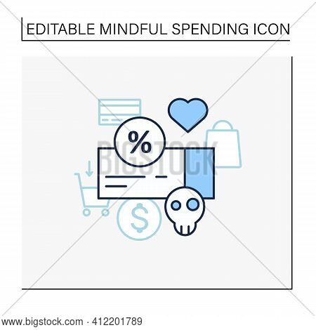 Dependence On Discounts Line Icon. Sales. Discounts Love. Mindful Spending Concept.isolated Vector I