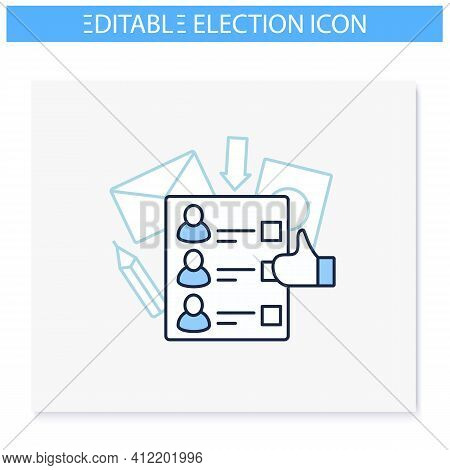 Ballot Line Icon. Empty Voting Form Or Checklist. Choice, Vote Concept. Democracy. Parliamentary Or