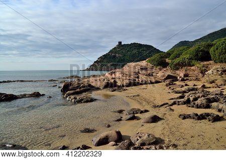 View Of Porto Ferro Beach, Sassari, Nurra