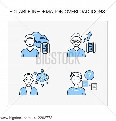 Information Overload Line Icons Set. Consists Of Cognitive Dissonance, Comparative Research Method,