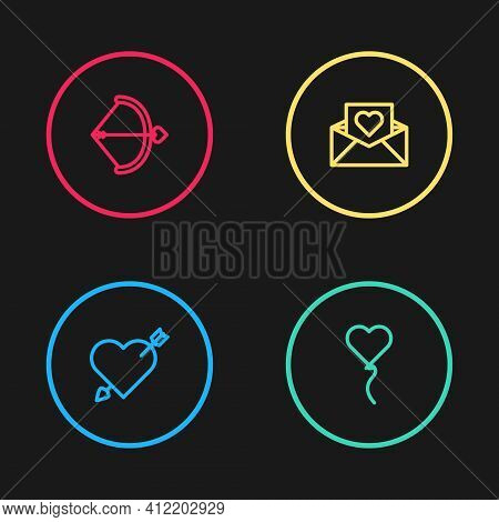 Set Line Amour With Heart And Arrow, Balloon In Form Of, Envelope Valentine And Bow Icon. Vector