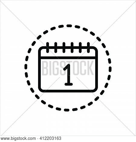 Black Line Icon For Attend Be-present Calendar Show-up Agenda Reminder Date