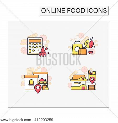 Online Food Color Icons Set. Calories Calculator, Office And Home Delivery, Ready-made Ration. Shopp