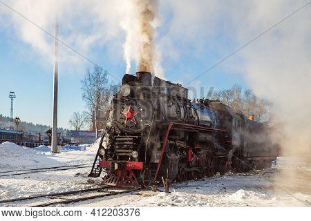 Sortavala, Russia - March 10, 2021: Steam Locomotive Lv-0522 (built In 1956) At Sortavala Station Ge