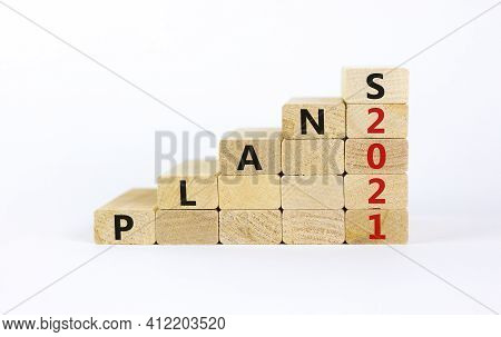 Business Concept Of 2021 New Year Plans. Wooden Blocks With Words 'plans 2021'. Beautiful White Back