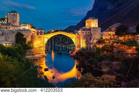 Mostar, Bosnia And Herzegovina. The Old Bridge, At Night. Travel In Europe.