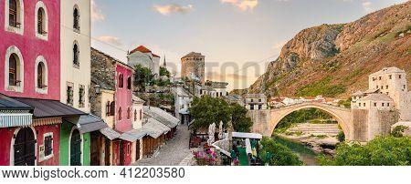 Mostar City Street, Bosnia And Herzegovina. The Old Bridge, At Sunrise. Travel In Europe.