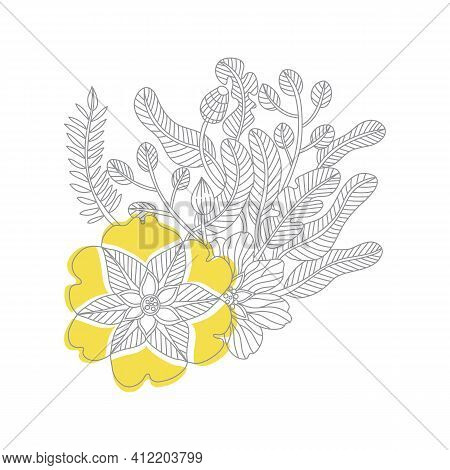 Outline Doodle Flowers In Trendy Colors For 2021, Ultimate Gray And Illuminating, Page Adult Colorin