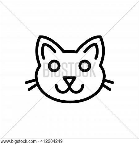 Black Line Icon For Cats Halloween Carnivore Animal Face Creature Domestic Kitten