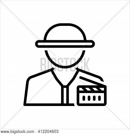 Black Line Icon For Producer Maker Cinematography Industry Cinema Movie Filmstrip Director