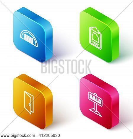 Set Isometric Line Garage, House Contract, Closed Door And Hanging Sign With Sale Icon. Vector