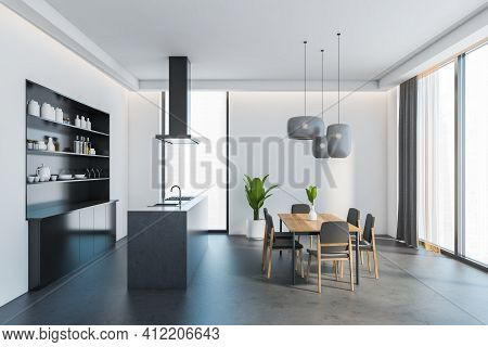 Open Space Eating Room Interior With Wooden Dining Table And Six Grey Chairs. Sink And Stove, Shelve