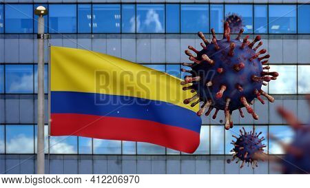 3D Illustration Colombian Flag On Skyscraper City. Coronavirus Outbreak. Covid19