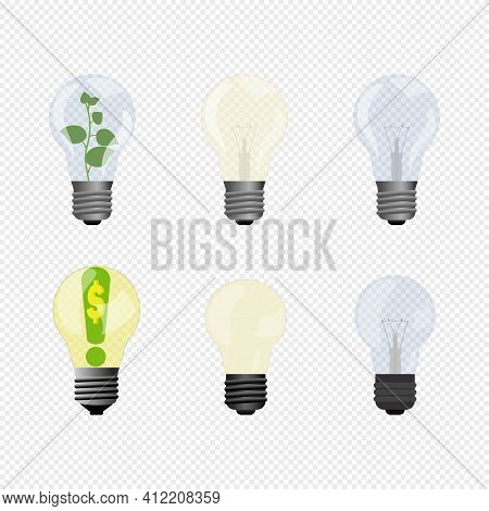 Vector Illustration Of Vary Electric Lighting Bulbs. One Of Lamp With Growing Plant Inside, Other Wi