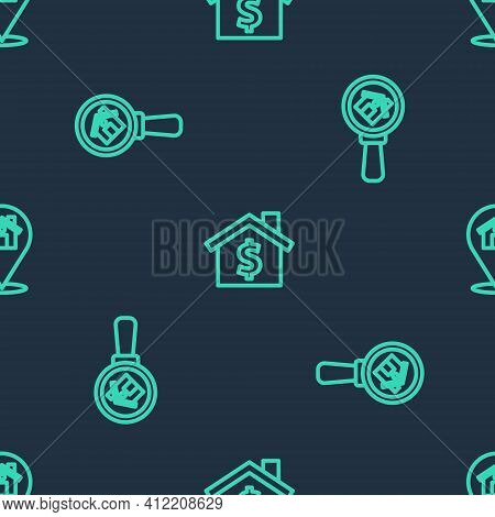 Set Line House With Dollar Symbol, Search House And Location On Seamless Pattern. Vector