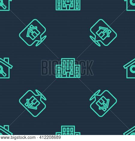 Set Line House, Location With House And Search On Seamless Pattern. Vector