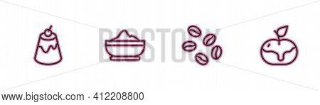 Set Line Pudding Custard, Coffee Beans, Flour Bowl And Apple Caramel Icon. Vector