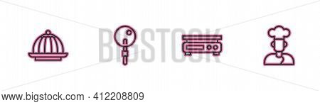 Set Line Pudding Custard, Electronic Scales, Lollipop And Cook Icon. Vector