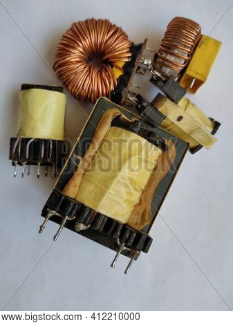 Rnt Transformers And Chokes Of The Computer Power Supply Board On A White Background