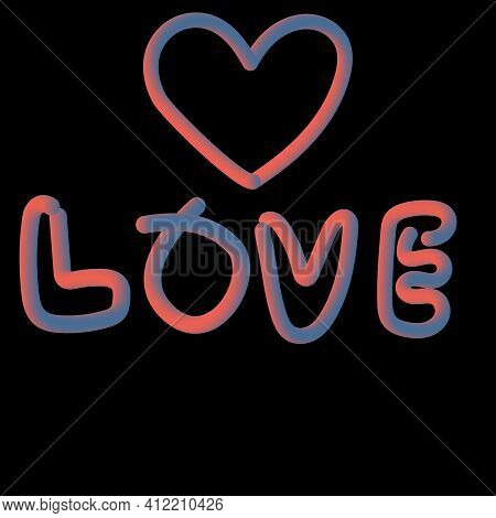 The Word Love And Heart Three-dimensional 3d
