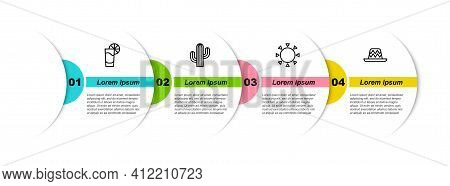 Set Line Tequila Glass With Lemon, Cactus, Sun And Mexican Sombrero. Business Infographic Template.
