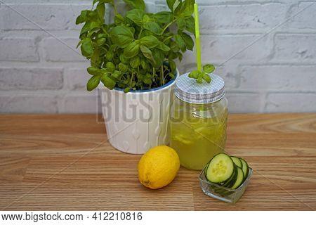Cucumber Apple Elderberry Lemonade In Glass. Tasty And Fruity Lemonade Arranged In Glass