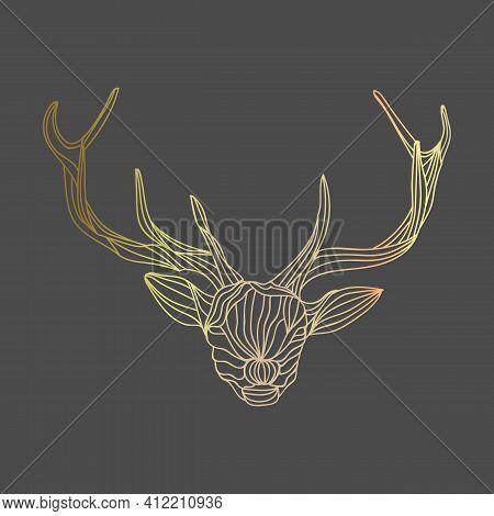 Gold Reindeer Abstract Outlines Illustration. Vector Illustration