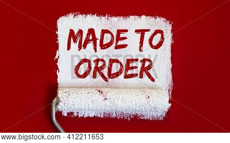 Made To Order .one Open Can Of Paint With White Brush On Red Background.