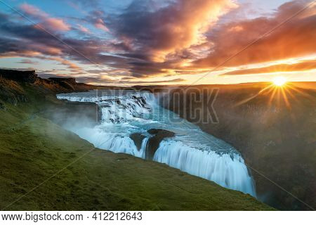 One Of The Most Famous Sights Along Iceland's Golden Circle, Gullfoss Waterfall. Shot During The Cra