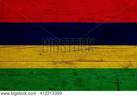 Flag Of Mauritius. Wooden Texture Of The Flag Of Mauritius.