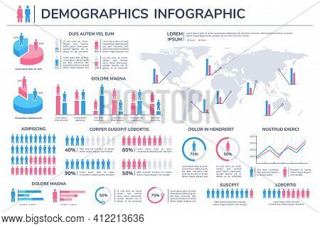 Population Infographic. Women And Men Percentage World Statistic. Charts, Graphs And Diagram Element