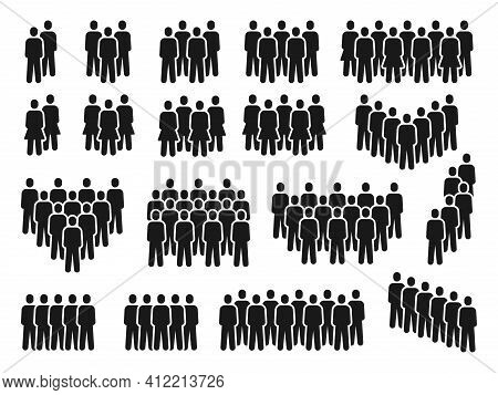 People Crowd Icons. Group Of Persons Gathering, Men And Women Silhouette. Employee Team, Citizen Or