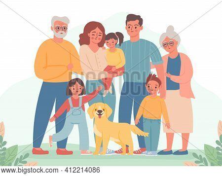 Big Family. Happy Parents, Children, Grandma And Grandpa. Smiling Dad, Mom, Kids And Dog. Three Gene